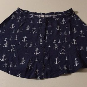 Pretty little nautical anchor navy button front